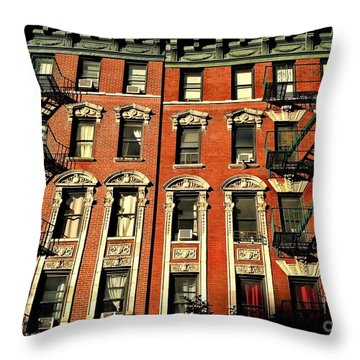 Sun And Shadow - The Rhythm Of New York Throw Pillow by Miriam Danar