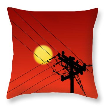 Sun And Silhouette Throw Pillow