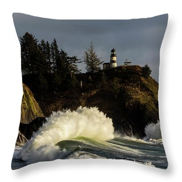 Sun And Surf With Lighthouse Throw Pillow