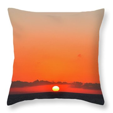 Sun Balancing On The Horizon Throw Pillow