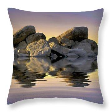 Sun Bathed Rocks Throw Pillow