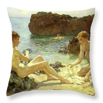 Sun Bathers Throw Pillow by Henry Scott Tuke