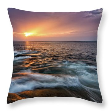 Sun Beams Halibut Pt. Rockport Ma. Throw Pillow by Michael Hubley