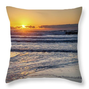 Sun Behind Clouds With Beach And Waves In The Foreground Throw Pillow