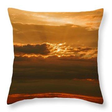 Sun Behind Dark Clouds In Vogelsberg Throw Pillow
