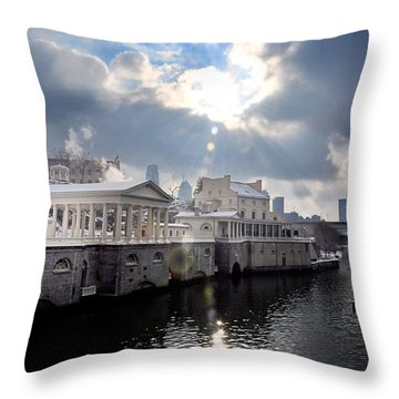 Sun Burst Over The Fairmount Water Works Throw Pillow by Bill Cannon