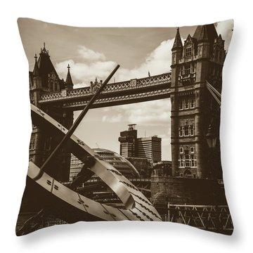 Throw Pillow featuring the photograph Sun Clock With Bridge Tower London In Sepia Tone by Jacek Wojnarowski