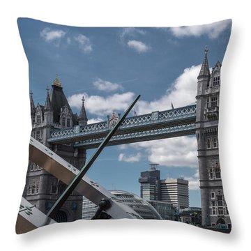 Sun Clock With Tower Bridge Throw Pillow