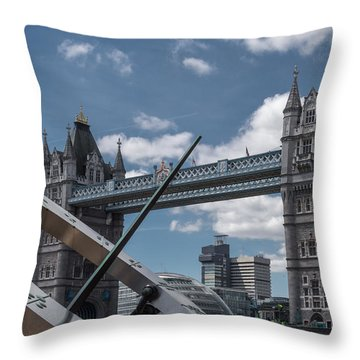 Sun Clock With Tower Bridge Throw Pillow