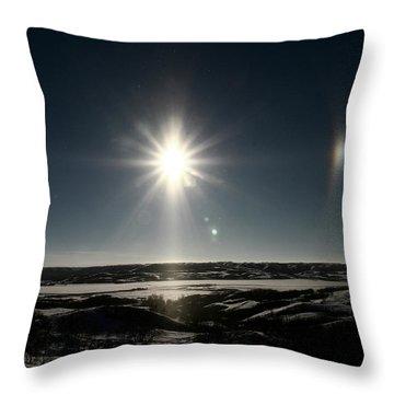 Sun Dogs Besides Settig Sun Throw Pillow by Mark Duffy