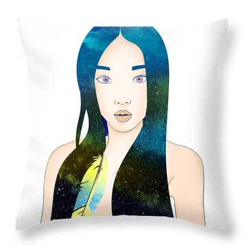 Sun Feather Throw Pillow