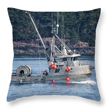 Sun Fisher Off Campbell River Throw Pillow