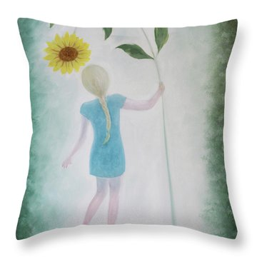Throw Pillow featuring the painting Sun Flower Dance by Tone Aanderaa