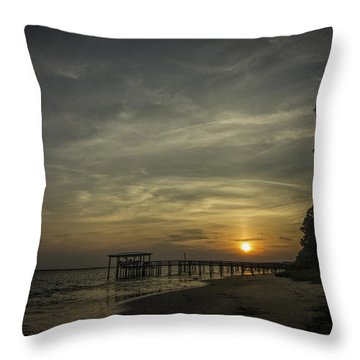 Sun Going Down Behind Dock Throw Pillow