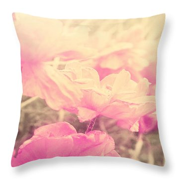 Sun Haze Poppies Throw Pillow
