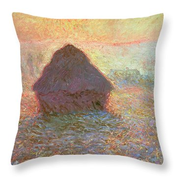 Sun In The Mist Throw Pillow by Claude Monet