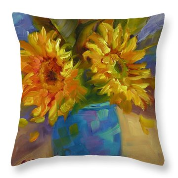 Throw Pillow featuring the painting Sun Kissed by Chris Brandley