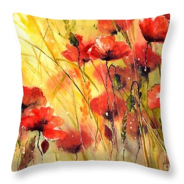 Sun Kissed Poppies Throw Pillow