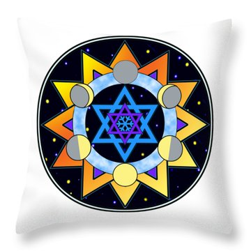 Sun, Moon, Stars Throw Pillow