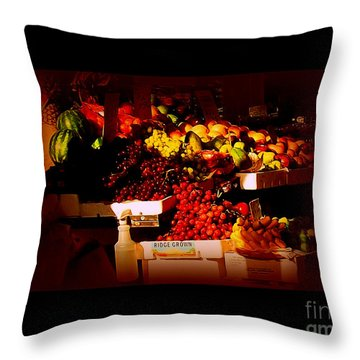 Throw Pillow featuring the photograph Sun On Fruit - Markets And Street Vendors Of New York City by Miriam Danar
