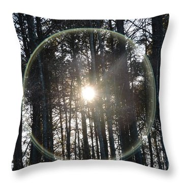 Sun Or Lens Flare In Between The Woods -georgia Throw Pillow