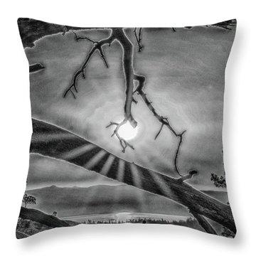 Sun Ornament - Black And White Throw Pillow