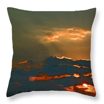 Sun Peering Through The Clouds Throw Pillow