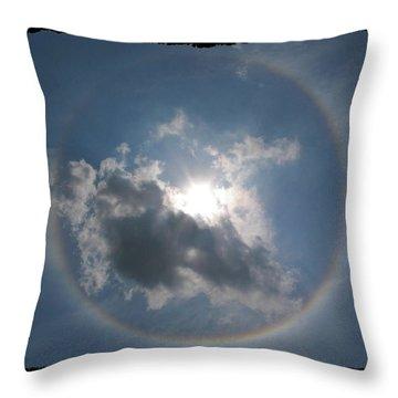 Sun Portal  A Rainbow Around The Sun With Black Border Throw Pillow by Adam Long