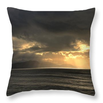 Throw Pillow featuring the photograph Sun Rays At Inch Beach by Barbara Walsh
