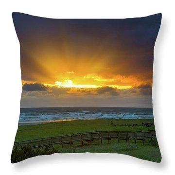Sun Rays At Long Beach Washington During Sunset Throw Pillow