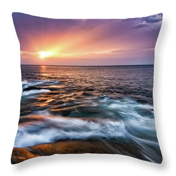 Throw Pillow featuring the photograph Sun Rays, Halibut Pt. Rockport Ma. by Michael Hubley