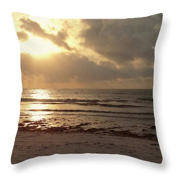 Sun Rays On The Water With Wooden Dhow Throw Pillow