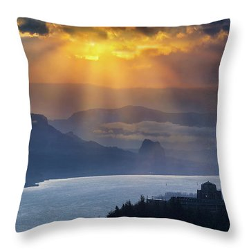 Sun Rays Over Columbia River Gorge During Sunrise Throw Pillow