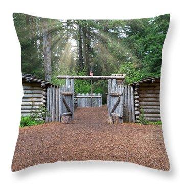 Sun Rays Over Fort Clatsop Throw Pillow