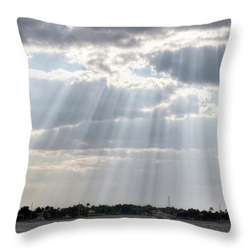 Sun Rays Over Lagoon Throw Pillow