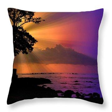Throw Pillow featuring the photograph Sun Rays Sunset by Lori Seaman