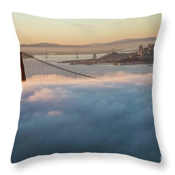 Throw Pillow featuring the photograph Sun Rise At Golden Gate Bridge by David Bearden