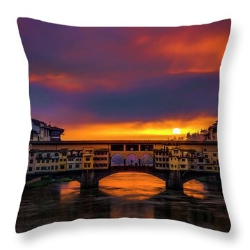 Throw Pillow featuring the photograph Sun Rises Over The Ponte Vecchio by Andrew Soundarajan