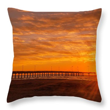 Sun Rising At Port Aransas Pier Throw Pillow
