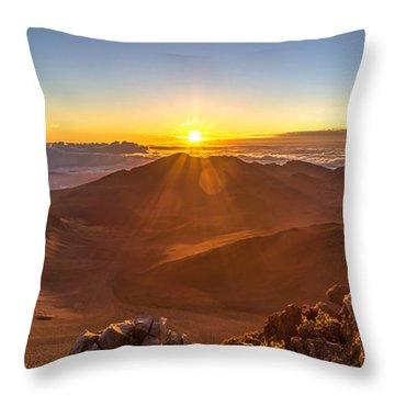Sun Rising Mount Haleakala Throw Pillow