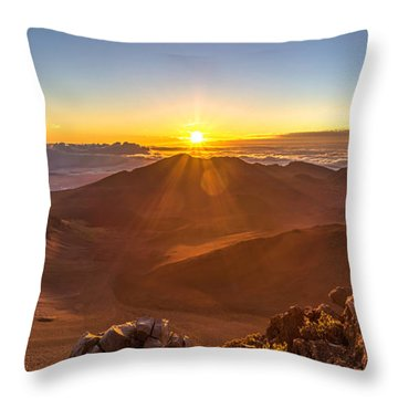 Sun Rising Mount Haleakala Throw Pillow