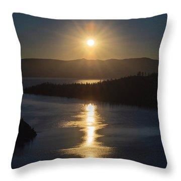 Sun Rising Over Lake Tahoe Throw Pillow