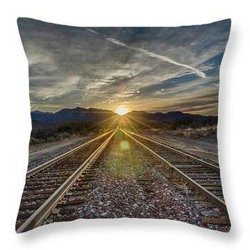 Sun Sets At The End Of The Line Throw Pillow