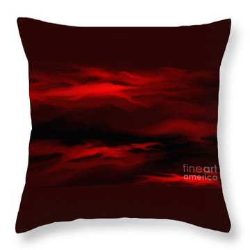 Sun Sets In Red Throw Pillow by Rushan Ruzaick