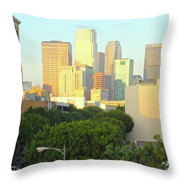 Sun Sets On Downtown Los Angeles Buildings #1 Throw Pillow