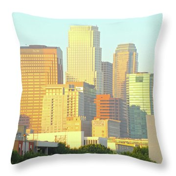 Sun Sets On Downtown Los Angeles Buildings #2 Throw Pillow