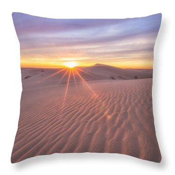 Throw Pillow featuring the photograph Sun Setting At The Dunes by Patricia Davidson