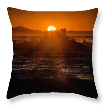 Sun Setting Behind Santa Cruz Island Throw Pillow