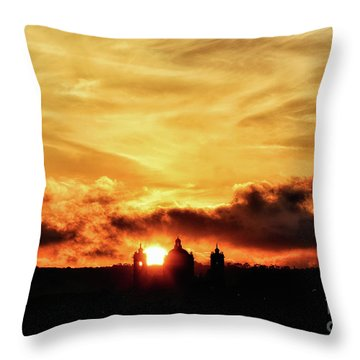 Sun Setting Down Behind Church Throw Pillow by Stephan Grixti