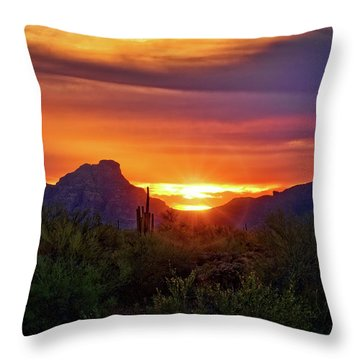 Throw Pillow featuring the photograph Sun Setting On Red Mountain  by Saija Lehtonen